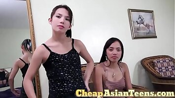 Two Whores Blowing a White Sex Tourist in Angeles City - CheapAsianTeens.com